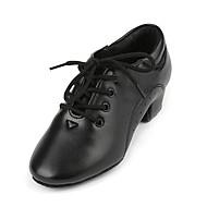 billige Jazz-sko-Gutt Jazz-sko Fuskelær Høye hæler Tykk hæl Dansesko Svart