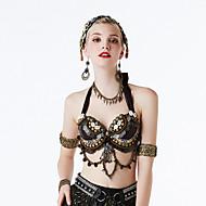 밸리 댄스 상의 여성용 성능 폴리에스테르 테피터 비즈 민소매 브라