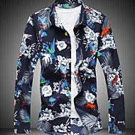 Homens Camisa Social Floral Azul Marinha XXXXL