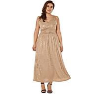 여자 맥시 스윙 드레스 깊은 v 갈색 xl xxl xxxl xxxxl