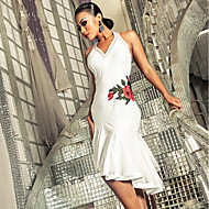 ラテンダンス ドレス 女性用 性能 スパンデックス 刺繍 / フリル ノースリーブ ドレス