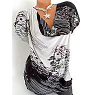 גיאומטרי צווארון V רזה טישרט - בגדי ריקוד נשים שחור XXXL