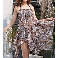 Damen Grundlegend Braun Schwarz Halter Cheeky-Bikinihose Cover-Up Bademode - Leopard M L XL Braun