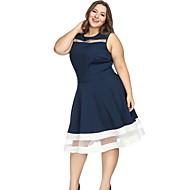 Damen knielanges Kleid a line blau l xl xxl xxxl
