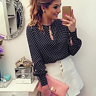 Women's Slim Blouse - Solid Colored Black L