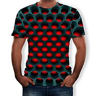 זול -גיאומטרי / 3D צווארון עגול סגנון רחוב / מוּגזָם טישרט - בגדי ריקוד גברים דפוס סגול XXXXL