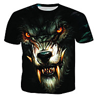 Tee-shirt Homme, 3D / Animal / Portrait - Coton Imprimé Col Arrondi Arc-en-ciel XL