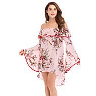 Femme Bohème Au dessus du genou Courte Robe - A Volants Imprimé, Fleur Rose Claire L XL XXL Manches 3/4