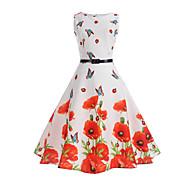 Kadın's Vintage A Şekilli Elbise - Çiçekli Diz-boyu