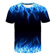 저렴한 -남성용 3D 라운드 넥 프린트 - 티셔츠 클로버 XXXL