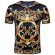 남성용 부족 라운드 넥 프린트 - 티셔츠 블랙 L