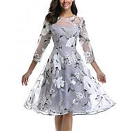 Dame Elegant A-linje Skater Kjole - Blomstret Knelang