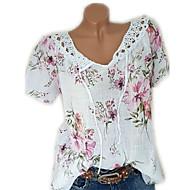 저렴한 -여성용 솔리드 V 넥 플러스 사이즈 레이스 / 플로럴 스타일 / 프린트 - 티셔츠 블러슁 핑크 XXXL / 봄 / 여름 / 가을