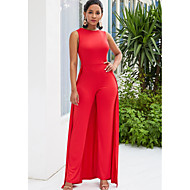 สำหรับผู้หญิง ทับทิม เพรียวบาง ชุด Jumpsuits, สีพื้น L XL XXL