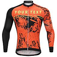 Skräddarsydda cykelkläder Herr Långärmad Cykeltröja - Orange Tecknat Cykel Andningsfunktion, Snabb tork, Anatomisk design / Microelastisk / Bergscykling / Vägcykling