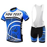 Skräddarsydda cykelkläder Herr Kortärmad Cykeltröja med Haklapp-shorts - Blå / Vit Svart / Blå Prickig Cykel Träningsdräkter, Andningsfunktion, Snabb tork, Bakficka Coolmax® / Hög Elasisitet