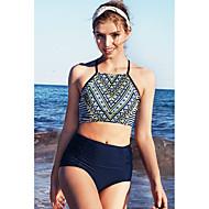 女性用 ネイビーブルー チーキー タンキニ スイムウェア - 幾何学模様 M L XL ネイビーブルー