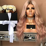 Syntetiske parykker Krøllet Stil Mellemdel Lågløs Paryk Pink Pink Syntetisk hår 22 inch Dame Fest Pink Paryk Lang Naturlig paryk