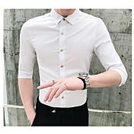 Homens Camisa Social Sólido Preto XL