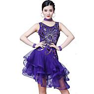 الرقص اللاتيني أزياء نسائي التدريب / أداء بوليستر / سباندكس متدرجة / شىء صغير براق بدون كم ارتفاع عال فستان / Neckwear / سوار