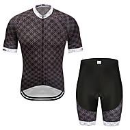MUBODO 男性用 女性用 半袖 ショーツ付きサイクリングジャージー - ブラック バイク スポーツ メッシュ マウンテンサイクリング ロードバイク 衣類 / 伸縮性あり