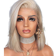 Synthetic Lace Front Wig Straight Style Side Part Lace Front Wig Blonde Platinum Blonde Synthetic Hair 12 inch Women's Adjustable / Heat Resistant / Women Blonde Wig Short Natural Wigs / Yes