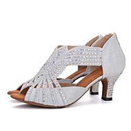 baratos -Mulheres Sintéticos Sapatos de Dança Latina Recortes Salto Salto Carretel Personalizável Preto / Prata / Rosa claro / Espetáculo / Couro