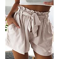 Mujer Básico Shorts Pantalones - Un Color Beige Gris Caqui M L XL