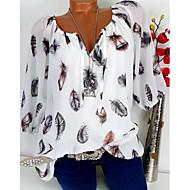 رخيصةأون -نسائي قميص قياس كبير V رقبة طباعة هندسي أبيض XXXL