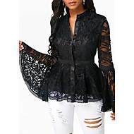 Mujer Camisa Un Color Negro XXXL