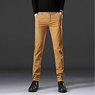 Heren Standaard Pakken / Chinos (zwaar katoen) Broek - Plaid / geruit Klassiek Katoen Zwart Marineblauw Khaki 34 36 38