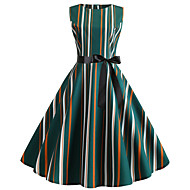 Dame Vintage Skjede Kjole - Geometrisk, Trykt mønster Knelang