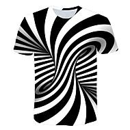 זול -פסים / 3D צווארון עגול טישרט - בגדי ריקוד גברים דפוס כתום XXXXL