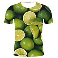 Pánské - 3D / Grafika / Ovoce Šik ven / Přehnaný Větší velikosti Tričko, Tisk Bavlna Kulatý Trávová zelená XXL