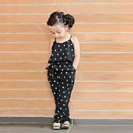 billige -Baby Pige Sød Stil Daglig Hjerte Trykt mønster Uden ærmer Overall og jumpsuit Sort