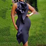Damen Street Schick Anspruchsvoll Etuikleid Hülle Kleid Solide Maxi