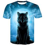 Veći konfekcijski brojevi Majica s rukavima Muškarci Pamuk 3D / Životinja Okrugli izrez Slim Plava XXL