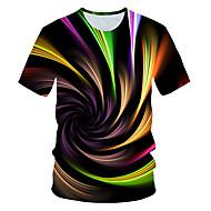 Heren Street chic / overdreven Print T-shirt Kleurenblok / 3D Regenboog XXL