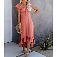Women's Basic A Line Dress - Solid Colored Ruffle Blushing Pink L XL XXL