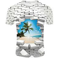 povoljno -Veći konfekcijski brojevi Majica s rukavima Muškarci Dnevno / Kauzalni 3D Okrugli izrez Kolaž Obala / Kratkih rukava