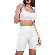 Femme Sportif Mince Short Pantalon - Couleur Pleine Noir / Blanc, Mosaïque Taille haute Coton Bleu Marine Gris Vin M L XL
