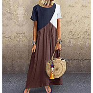 povoljno -Žene Osnovni Majica Haljina - Kolaž, Color block Maxi