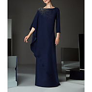 Sheath / Column Bateau Neck Floor Length Chiffon Mother of the Bride Dress with Beading / Appliques / Ruffles by LAN TING Express
