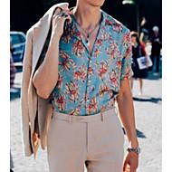 Herre - Blomstret Basale Plusstørrelser Skjorte Lyseblå