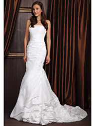 cheap -Mermaid / Trumpet Strapless Court Train Taffeta Wedding Dress with Beading by LAN TING BRIDE®