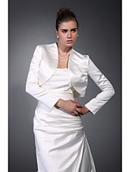 cheap -Long Sleeves Satin Wedding Party Evening Office & Career Wedding  Wraps Coats / Jackets