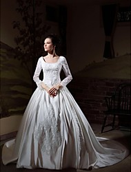 Ball Gown Square Neck Cathedral Train Satin Wedding Dress with Beading Appliques by LAN TING BRIDE®