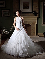 cheap -Ball Gown Halter Chapel Train Organza Wedding Dress with Beading Appliques Side-Draped Tiered by LAN TING BRIDE®
