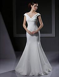 Mermaid / Trumpet V-neck Floor Length Satin Wedding Dress with Criss-Cross by LAN TING BRIDE®