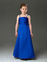 cheap -A-Line Princess Floor Length Flower Girl Dress - Satin Sleeveless Spaghetti Straps with Bow(s) Ruching by LAN TING BRIDE®